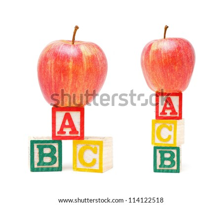 ABC Blocks and Red Apple isolated - stock photo