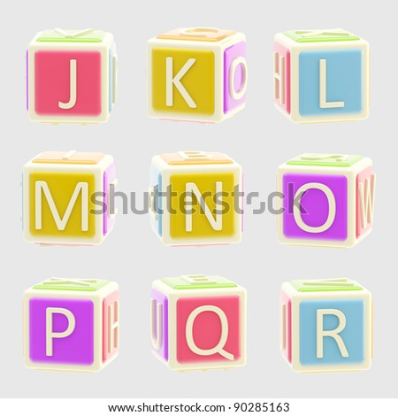 ABC: Bright and glossy alphabet made of children playing cubes isolated on grey, J-R letters 2 of 3 - stock photo