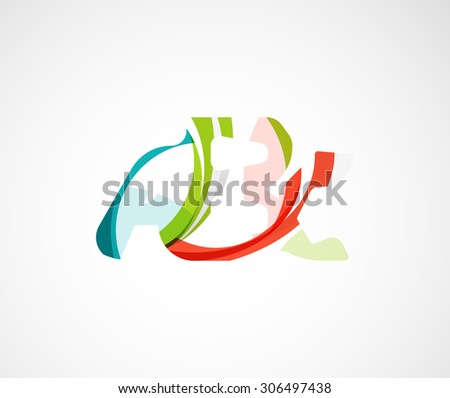 Abc company logo.  illustration. Made of overlapping wave elements, abstract composition. Font business icon concept - stock photo