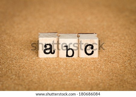 ABC Concept, Alphabet stamp on a cork board