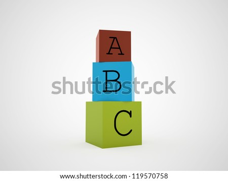 ABC cubes colored