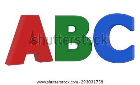 ABC 3d word isolated on white background - stock photo