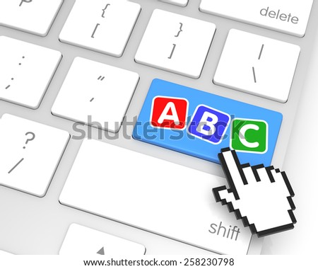 ABC enter key with hand cursor. 3D rendering