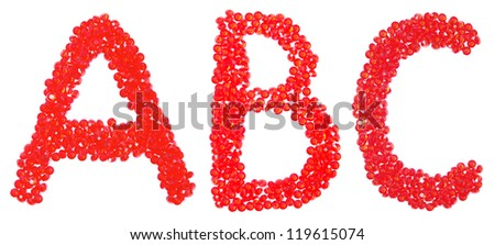 ABC from beautiful red diamonds on a white
