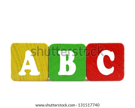 abc - isolated text in wooden building blocks - stock photo