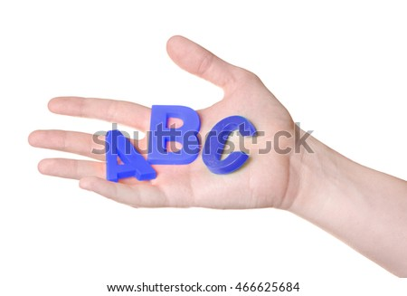 ABC letters in hand isolated on white background