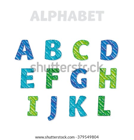 ABC letters set in kid style. School pencil drawn font for lettering and header - stock photo