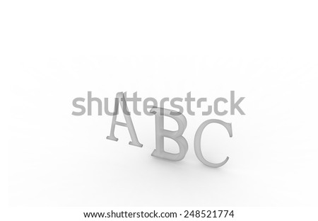 ABC rendering letters on a white background,