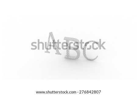 ABC rendering letters on a white background, closeup of photo