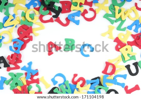 ABC spelled out with colorful sponge rubber letters