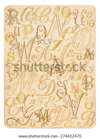 ABC vintage background - stock photo