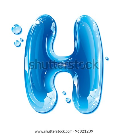 ABC Water Letter - Capital H Liquid Alphabet Gel Series  on white background - raster version - stock photo