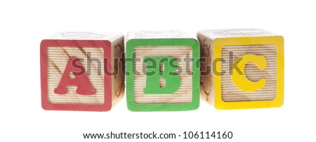 ABC with letter wooden cubes isolated on white - stock photo