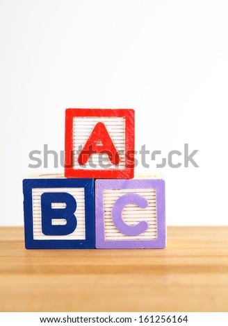 ABC wooden toy block - stock photo