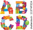 ABCD - english alphabet - letters are made of gift boxes and presents. Raster version - stock photo