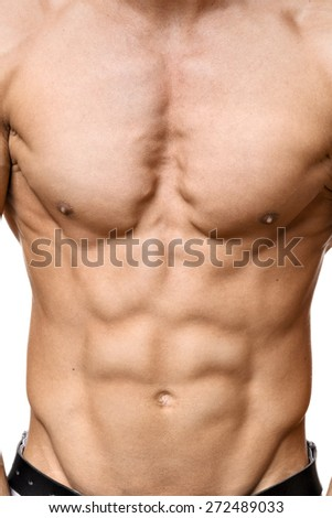 Abdominal muscle of a young athletic man