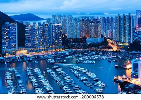 Aberdeen in Hong Kong at night - stock photo