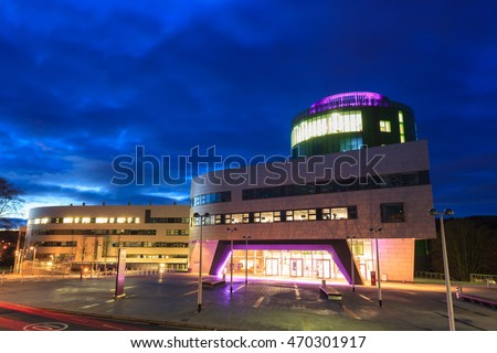 ABERDEEN SCOTLAND - 9 FEBRUARY 2015 The Robert Gordon University (RGU) in Aberdeen during sunrise on February 09, 2016. RGU is one of  the UK's top Universities in oil and gas industry.