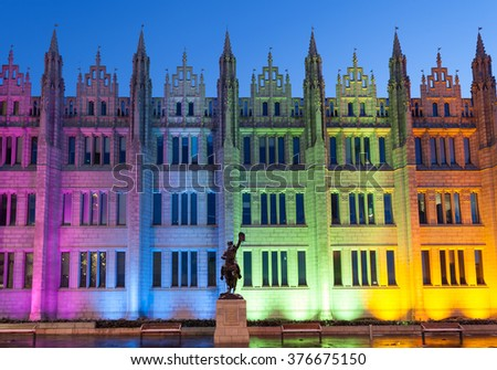 ABERDEEN SCOTLAND -14 FEBUARY 2016 : Marischal College view in the evening. Marischal college became Aberdeen City Council headquarters in 2011.