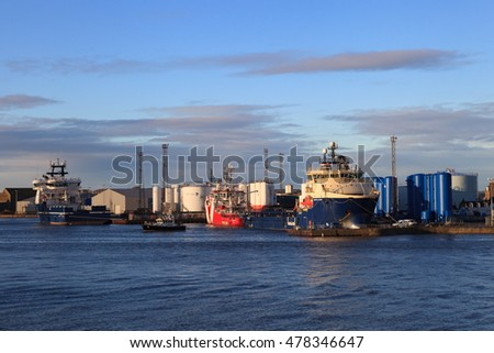 ABERDEEN SCOTLAND - 27 JANUARY 2016: Big supply boats in Aberdeen harbor on 27 January 2016. Aberdeen port is one of the busiest ports in UK.