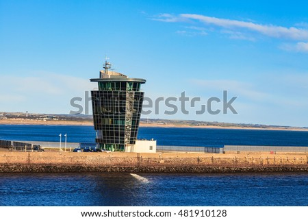 ABERDEEN, SCOTLAND - 30 JANUARY 2016: The Marine Operations Centre at Pocra Quay, North Pier. Opened in 2006 it controls shipping in and out of the port, one of the UK's busiest ports.