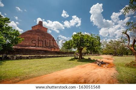 Abhayagiri - major monastery site of Theravada Buddhism that was situated in Anuradhapura, Sri Lanka - stock photo