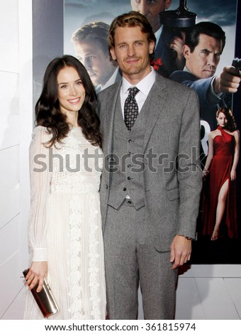 "Abigail Spencer and Josh Pence at the Los Angeles premiere of ""Gangster Squad"" held at the Grauman's Chinese Theatre, Los Angeles, USA on January 7, 2013. - stock photo"