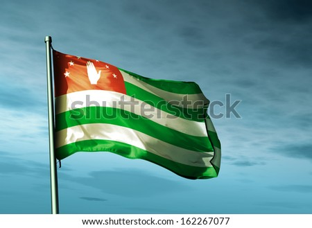 Abkhazia flag waving on the wind