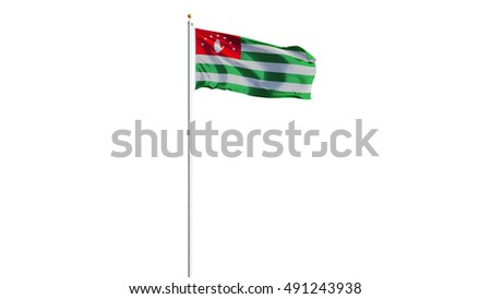 Abkhazia flag waving on white background, long shot, isolated with clipping path mask alpha channel transparency