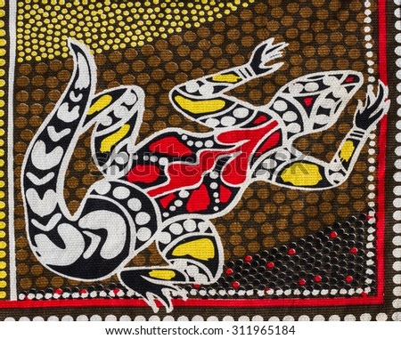 Aborigin style of gecko pattern on fabric.