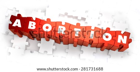 Abortion - Text on Red Puzzles on White Background. 3D Render. - stock photo