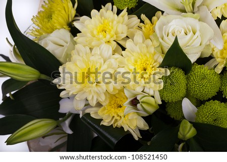 abouquet of chrysanthemums, white rose, Lily - stock photo