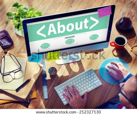 About Concerning Contact Information Support Concepts - stock photo