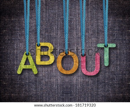 About Letters hanging strings with blue sackcloth background. - stock photo