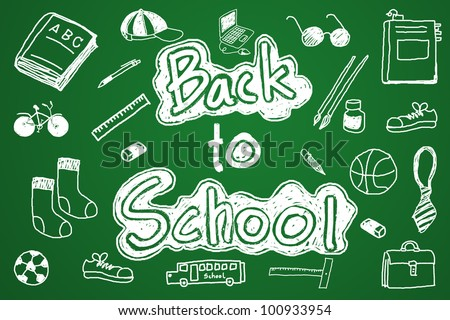 """About the study Students return to school. A message """"BACK TO SCHOOL"""" on the blackboard. - stock photo"""