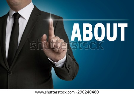 About touchscreen is operated by businessman. - stock photo