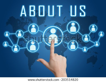 About us concept with hand pressing social icons on blue world map background. - stock photo