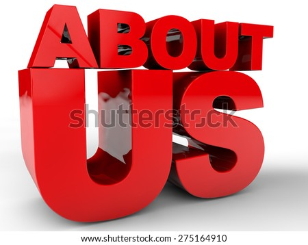 About us - 3D Text over white Background - stock photo
