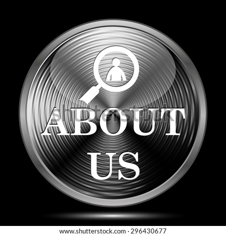 About us icon. Internet button on black background.