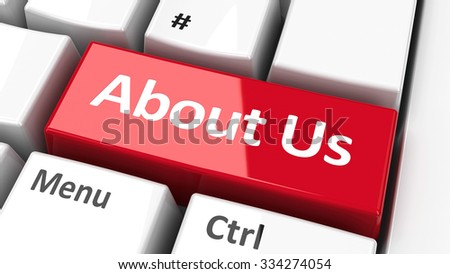About us key on the computer keyboard, three-dimensional rendering - stock photo