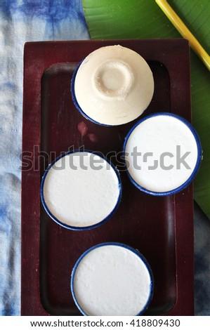 Above of coconut milk Thai dessert on Tray - stock photo