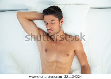 Above portrait of a man sleeping