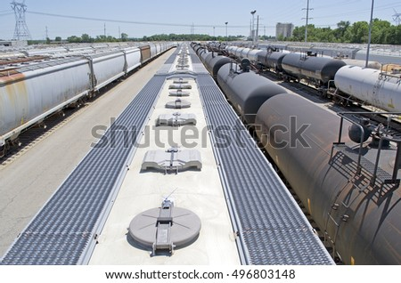 Above rail cars in rail yard