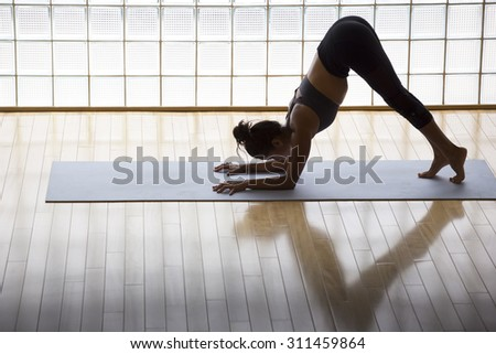 Above shot of a young woman practicing in a yoga studio. Dolphin pose, preparation for an inversion - stock photo