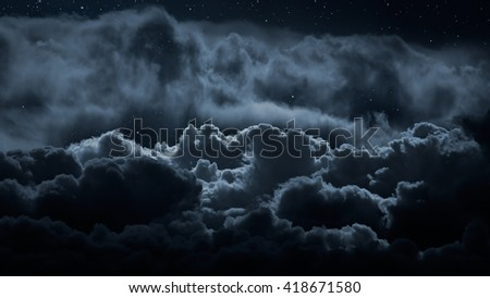 Above the clouds at night with stars - stock photo
