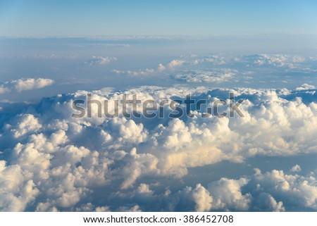 Above The Clouds Blue Sky Landscape - stock photo