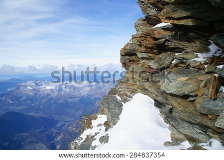 Above the clouds in the Alps - stock photo