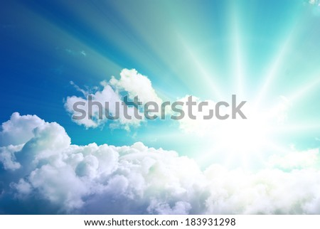 Above the clouds. Only bright radiant sun - stock photo