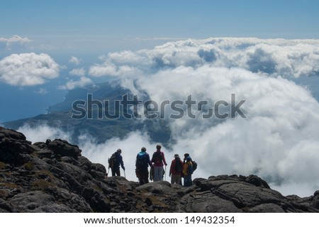 Above the clouds. View from Mount Pico on Pico Island, Azores. - stock photo