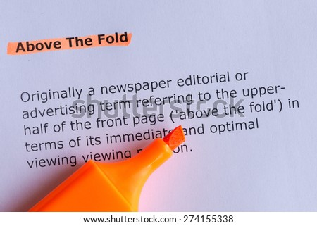 above the fold word highlighted on the white paper